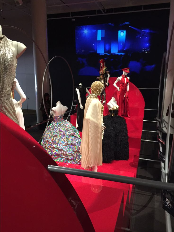 This display is part of the Kylie On Stage exhibition at the Melbourne Arts Centre.  Mannequins were custom made some 10 years ago and recently modified to bring them up to date.  This display is the centrepiece of the exhibition and is proudly manufactured by O.M.A.