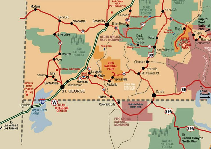 South West Map Trip Planning Driving Usa Utah Map