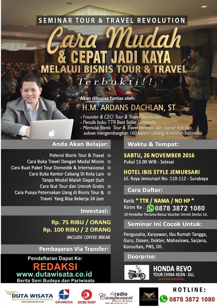 Jadwal Seminar Tour And Travel di Surabaya 2016 Bulan November