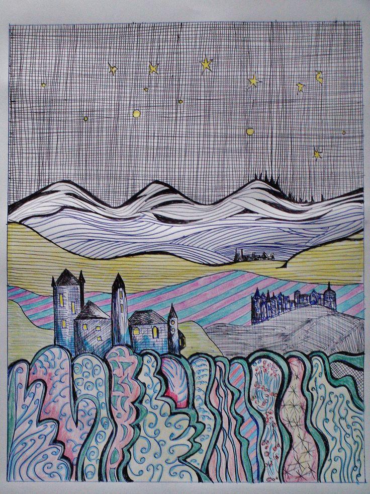 landscape2 mit Kugelschreiber ( coloriert ) M.A.