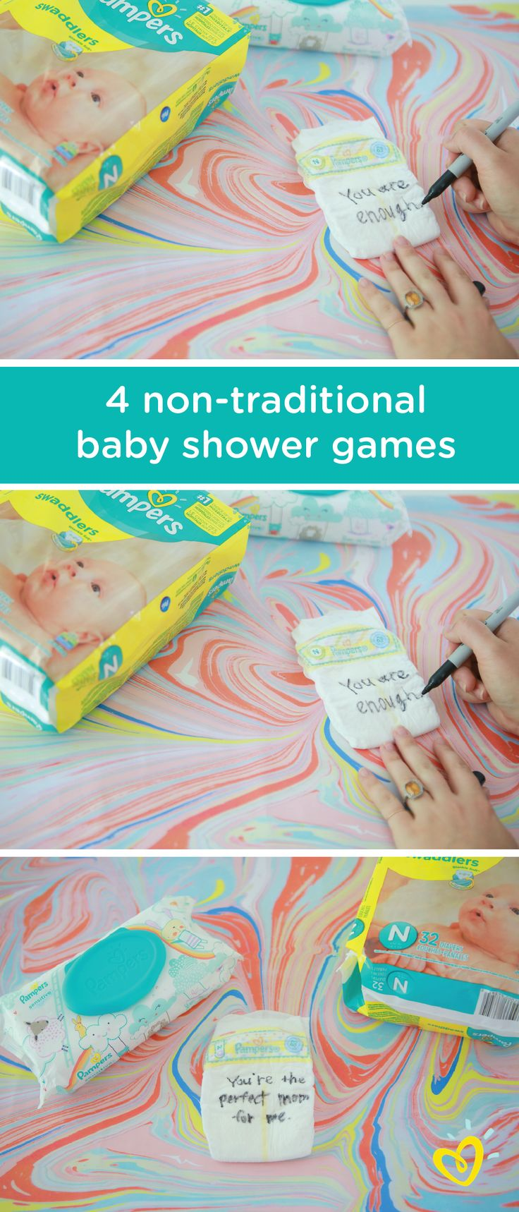 You can't help but have fun with these non-traditional baby shower games. Try having friends and family write funny or encouraging notes on Pampers Swaddlers diapers. Then, hang up all of the diapers to create a silly photo backdrop that guests can pose in front of. Click here to learn more.