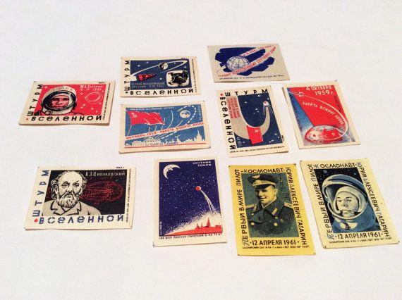 #Collection set 10 #Vintage #USSR Soviet  by PostcardWatchUSSR #Cigarette #liners #Gagarin #Space #Moon #Collectibles #Sale #ETSY #Cosmonauts #Laika #Pictures #history of #world #science #anniversary #Match #labels #rocket space #propaganda