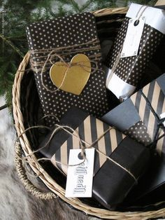 Black, white & brown parcels tied up with string....