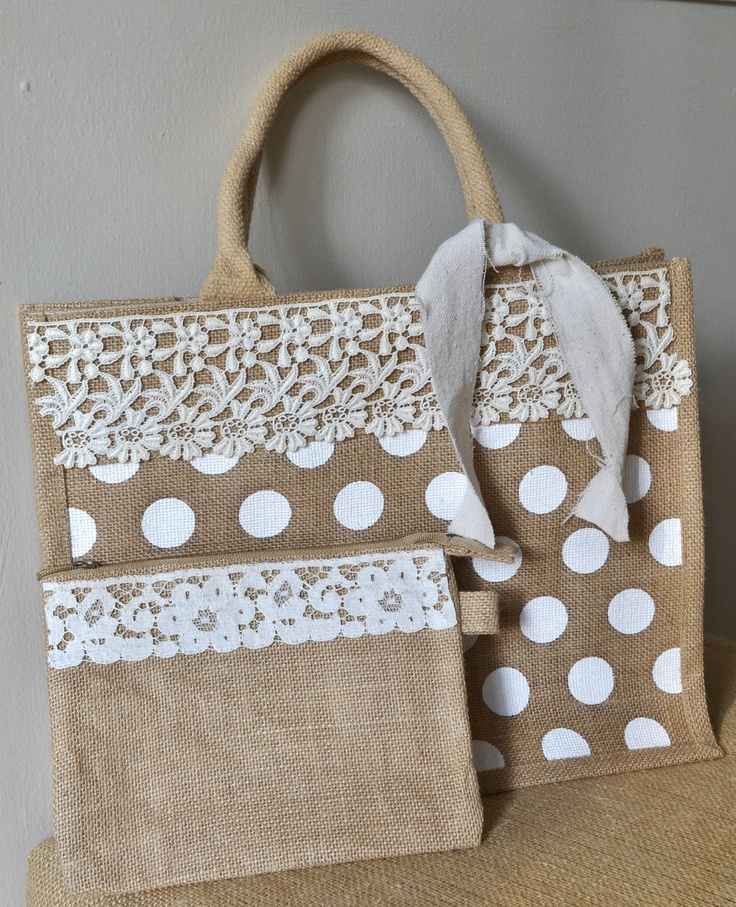 If you had a binder you could tote it around in this.... (Burlap tote with lace trim)