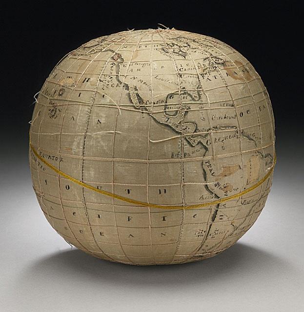 xxx ~ Embroidered Terrestrial Globe by Lydia Satterthwaite, 1817