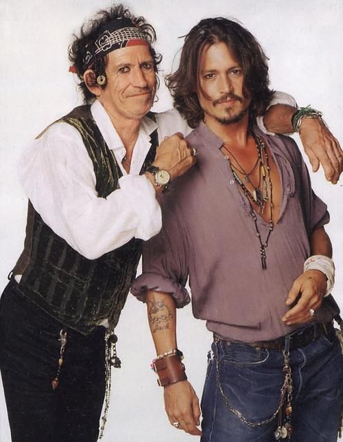 Double trouble!  Keith Richards, the great bass guitar player (and one-time actor) and Johnny Depp