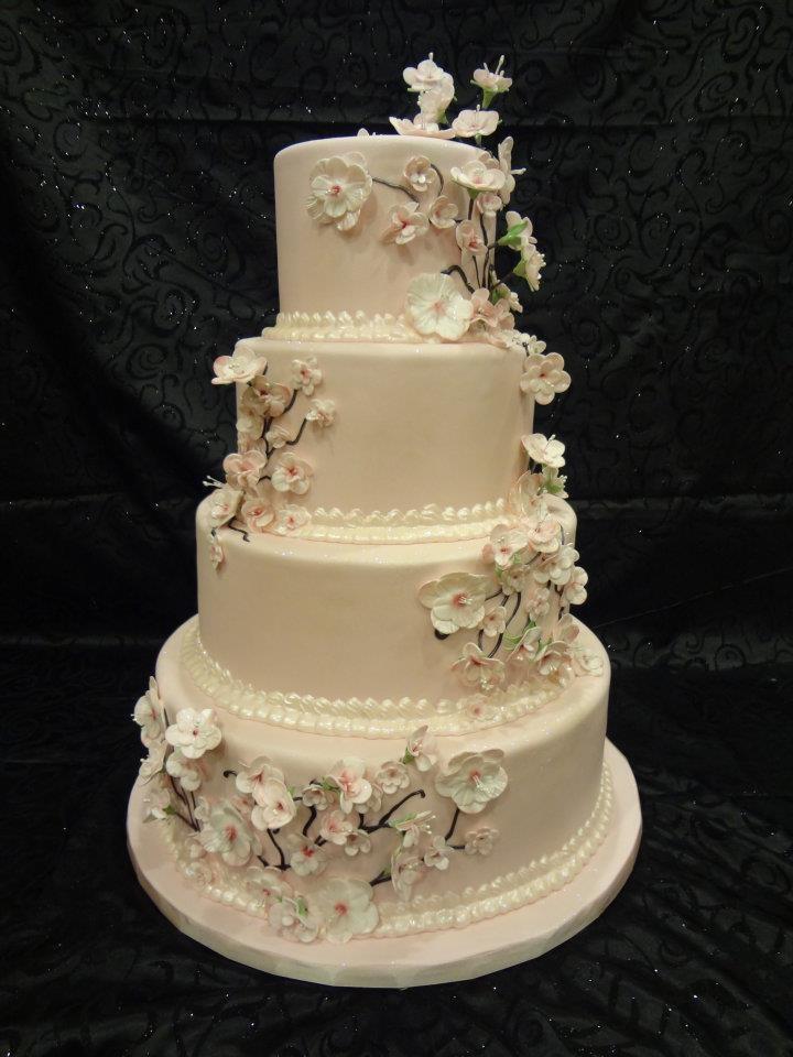 66 best wedding cakes images on pinterest petit fours cake cherry blossoms wedding cake solutioingenieria Images
