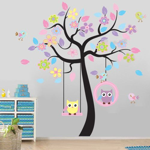 Flower Tree & Owl Swing Wall Stickers Art Mural Decal Kids Nursery Bedroom Decor
