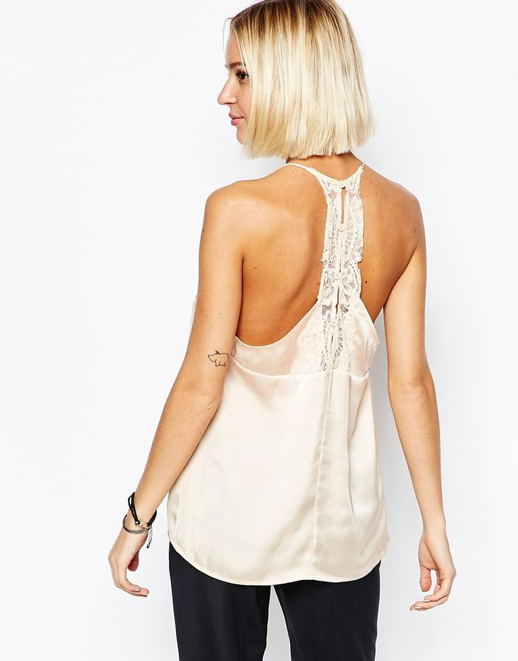 Image 1 of Selected Love Strappy Lace Back Cami