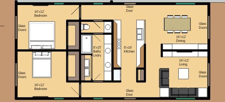 Really simple 2 bedroom 1 bath floor plan - no wasted space