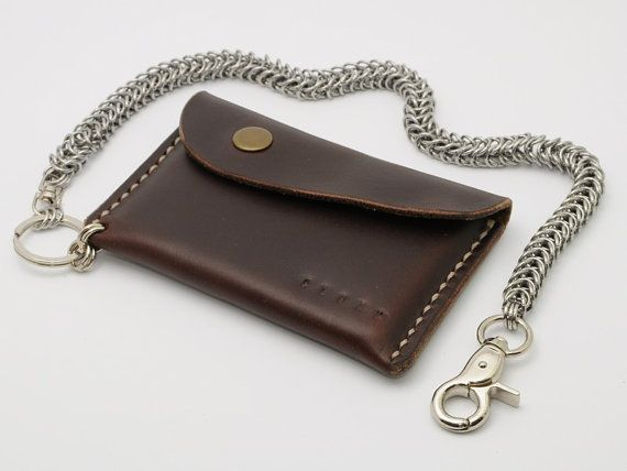Leather Minimal Pouch Wallet and Maille Chain by CloakLeather