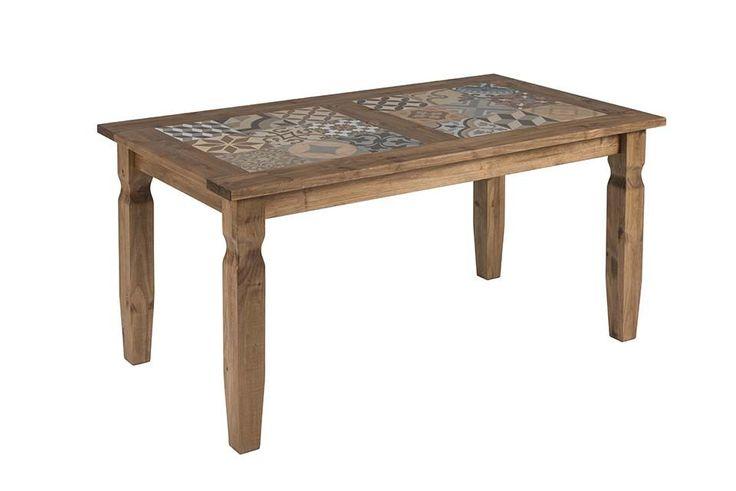 Mesa Rústica Com Porcelanato no Tampo - Cód 1605 - Mesas de Centro - Madeira de Reflorestamento - Barrocarte