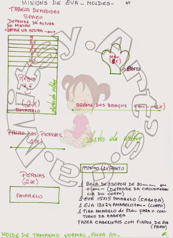 ARTES DA MITSY: MINIONS DE EVA 3D  CURSO GRATUITO AULA 09 + MOLDES...