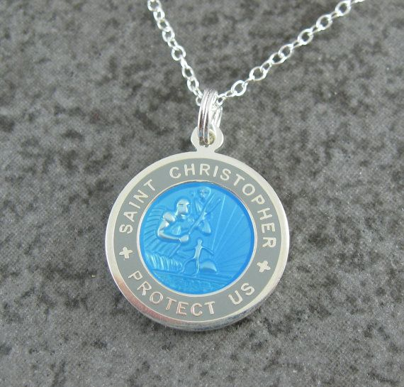 medium St. Christopher necklace - Skyblue w/Gray border surfer back