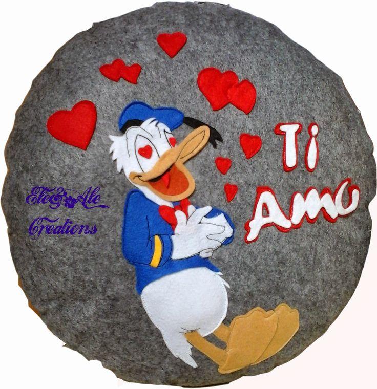 CUSCINO PAPERINO Ele & Ale Creation: Cuscino per dire ti amo in un modo originale e do...