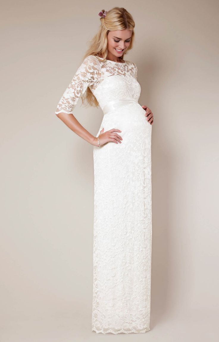 If you're looking for A-list chic, try our striking ivory take on our full length Amelia maternity evening gown.