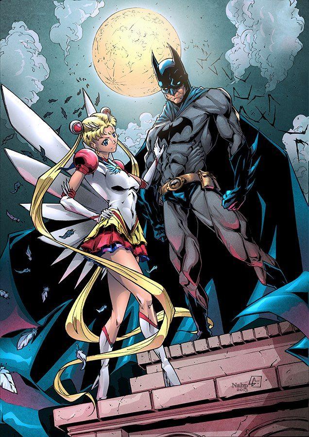 awesome batman and Sailor Moon el encuentro de dos mundos
