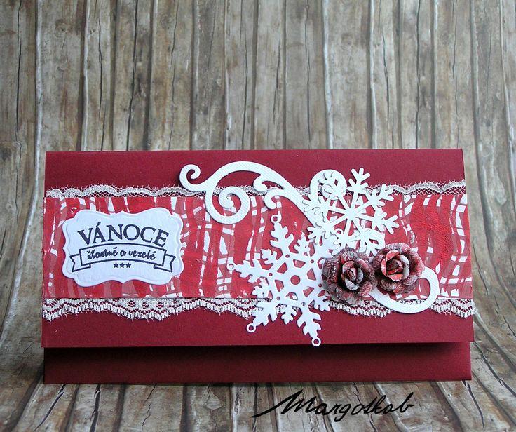 Vánoční darovací obálka červená. Margotkab