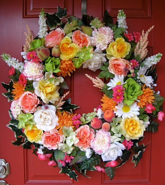 Lush Coral Rose and Fruit Wreath, by IrishGirlsWreaths, SOLD!: Rose Wreaths, Coral Roses, Summer Kitchen