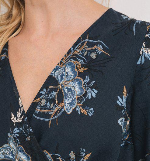 Robe cache-coeur Femme imprimé marine - Promod