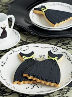 The Little Black Dress... Cute for a number of occasions but this would also be a fun little girls slumber party activity, let them decorate their own dress cookies.