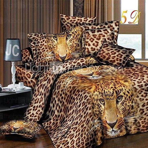housse de couette, literie réaliste 3d léopard imprimé Set 4pcs courtepointe feuille de couverture taie - USD $57.99