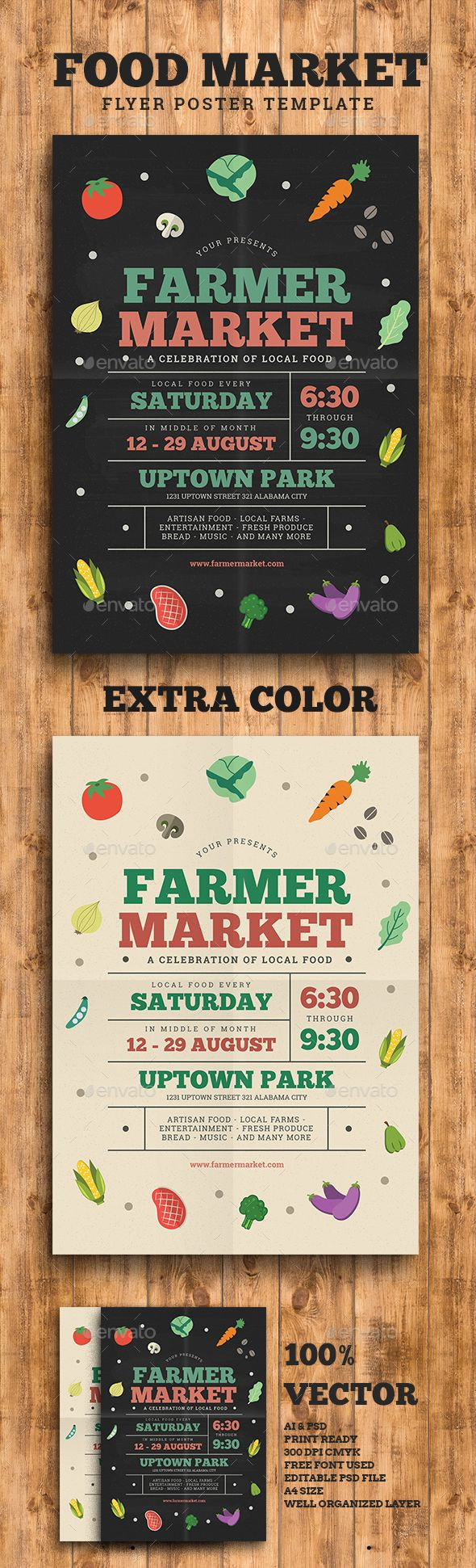 Farmer/Food Market Flyer Template PSD, AI Illustrator. Download here: http://graphicriver.net/item/farmerfood-market-flyer/16118198?ref=ksioks