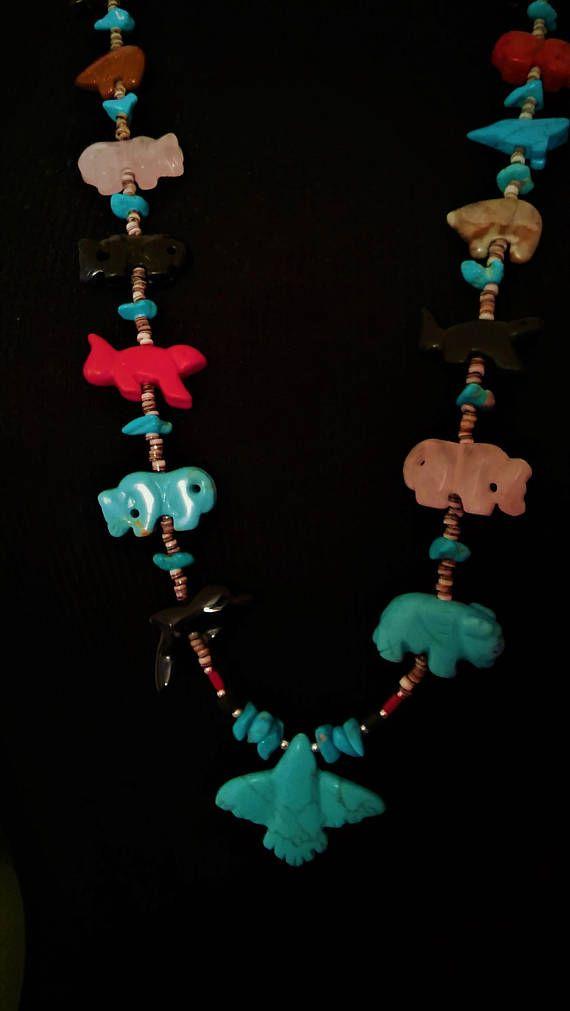 Zuni Thunderbird Animal Fetish Necklace ~ Native American Animal Spirit Necklace Turquoise Navajo Southwestern