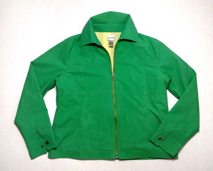 Chico's Jacket Lightweight Size 1 Green Yellow Zip Up Casual Nautical Golf #Chicos #LightJacket #Any