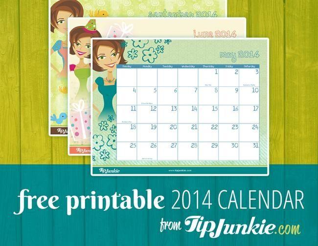 Free Printable 2014 Calendar by Tip Junkie