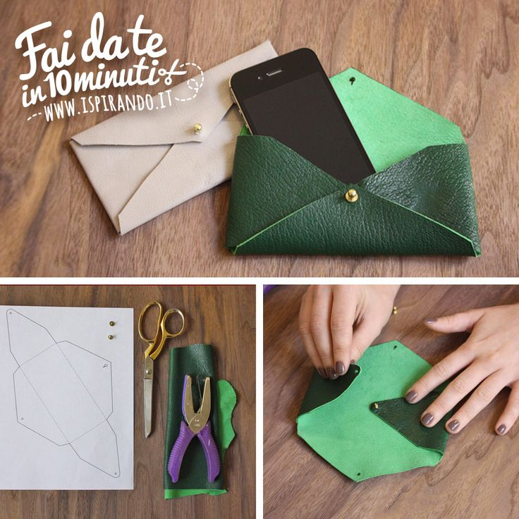 Come creare una pochette a busta fai da te.  Da fare in soli 10 minuti! #DIY #fastDIY #leather