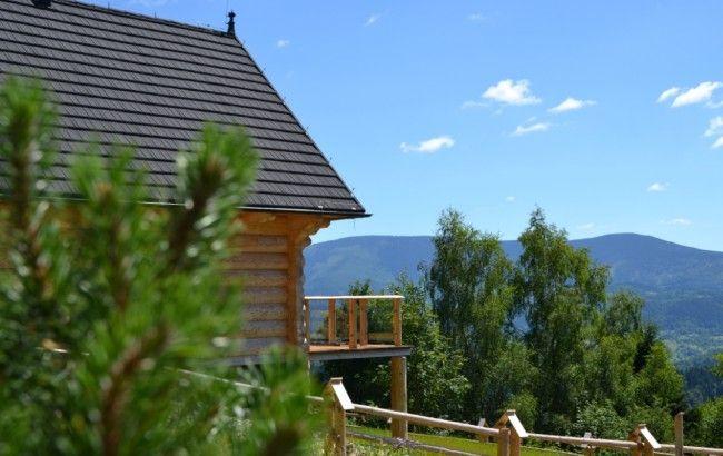 Wiev around log home in Beskidy