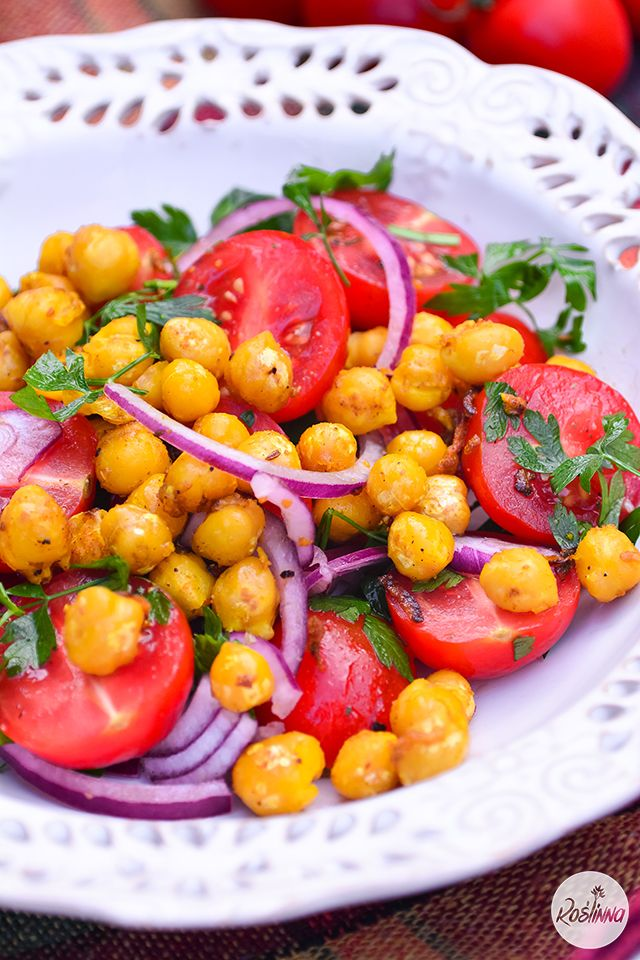 Sałatka - pomidory i ciecierzyca curry