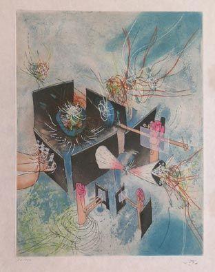 """Matta Hom'mère III. L'Ergonaute: """"Paterminant de l'Enfance"""""""", 1977. Aguafuerte y aguatinta sobre Cobre de 49,5 x 37,5 cm., Papel Japón nacarado (suit) de 250 gr. de medidas 67 x  51,5 cm. Ej.: 100 + XXV HC (Arches) / suite 100 + 10 EA + XXV HC (Japón #art #etching"""