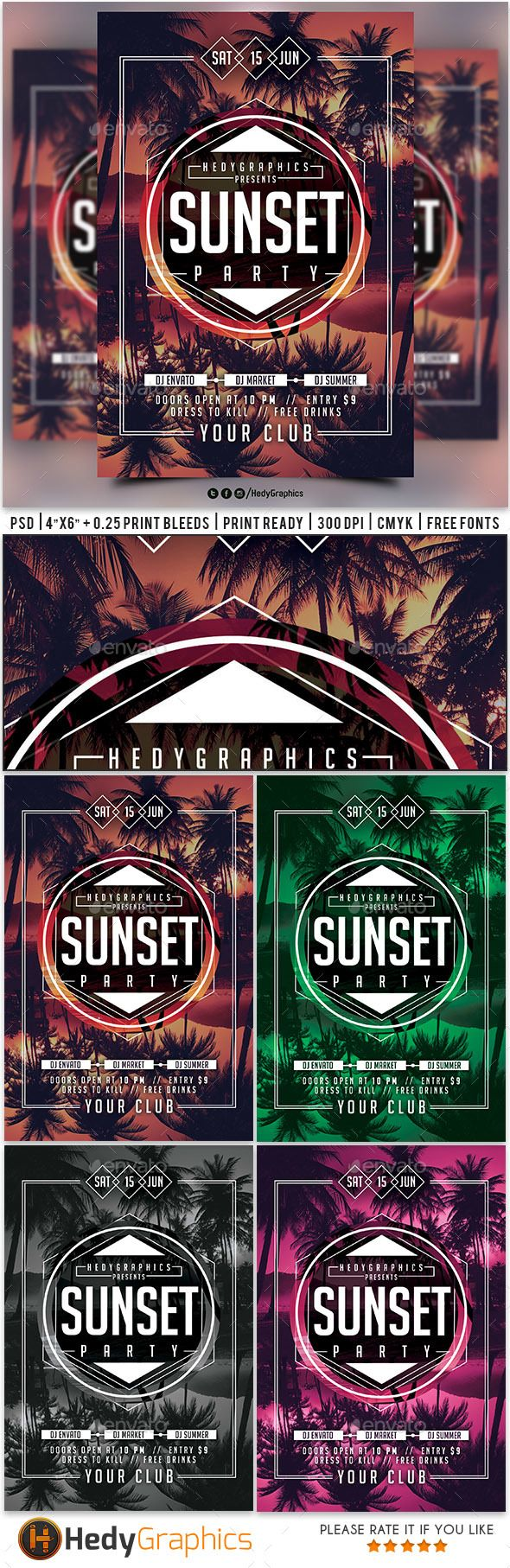 Sunset Party Flyer Template PSD