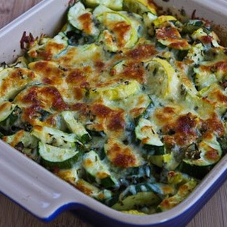 Easy Cheesy Zucchini Bake Pretty good. I uses scallions instead of green onions.  Cut my veggies thin but still had to bake at least 10 minutes longer. (35-45)