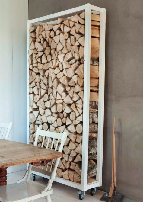 Log holder.... You should make this for our basement. Could make it fit between the bar  the fire place. But not on wheels...maybe on pieces of carpet as to not ruin the floors