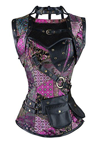 Lucea Women's Spiral Steel Boned Steampunk Gothic Vintage Overbust Corset with Jacket and Pouches Purple X-Large | Smoked Glass Goggles