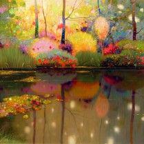 Pedro Roldán - Juegos de luz en el estanque.Giverny(Monet).130x64cm