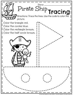 Preschool Shapes Worksheet for Summer - Pirate Ship Tracing