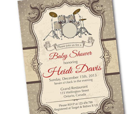 Drum Baby Shower Invitation. Rock Star Music Baby shower. Retro Baby Shower Invite. Vintage Background. DIY digital printable. on Etsy, $10.00