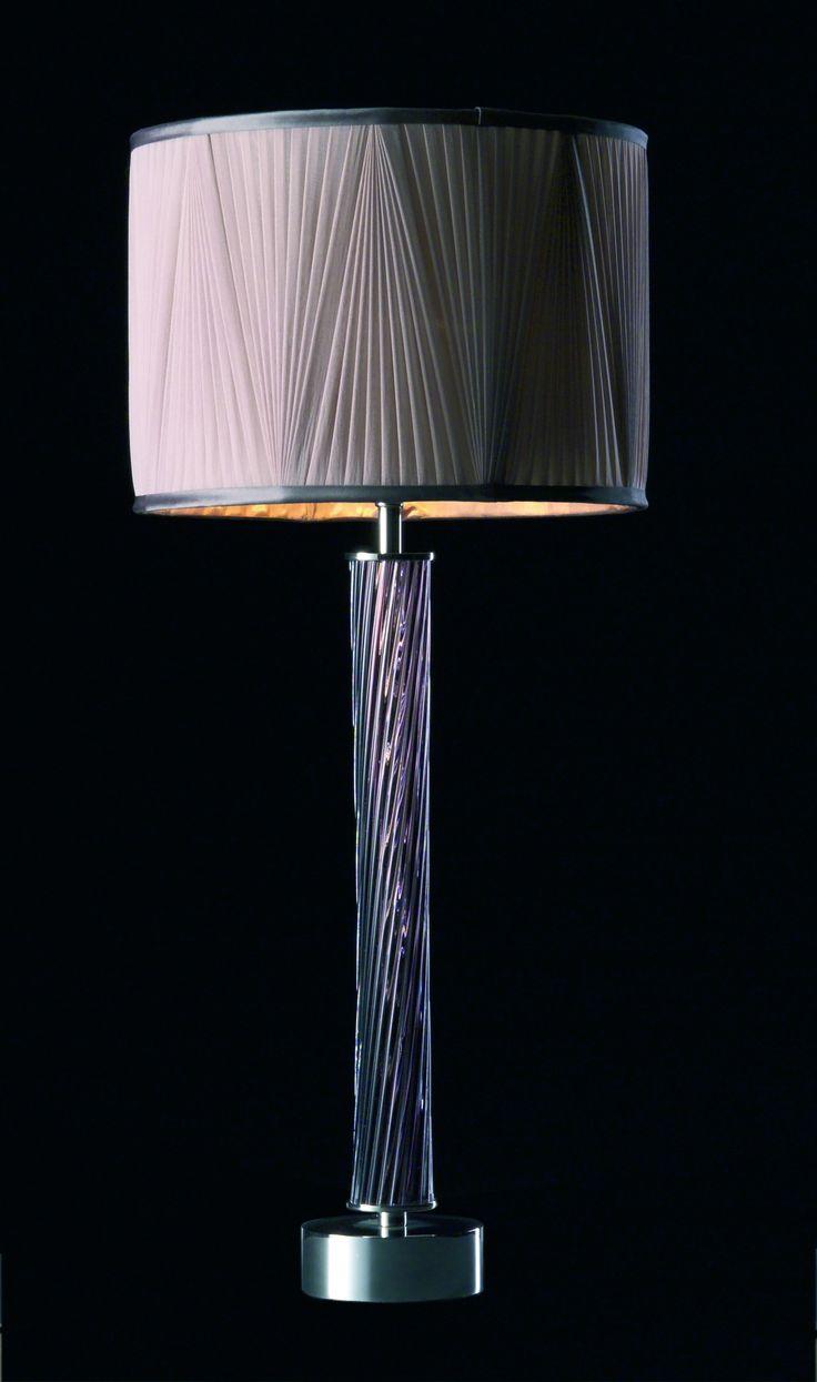 Reverse pleated grey chiffon drum lampshade