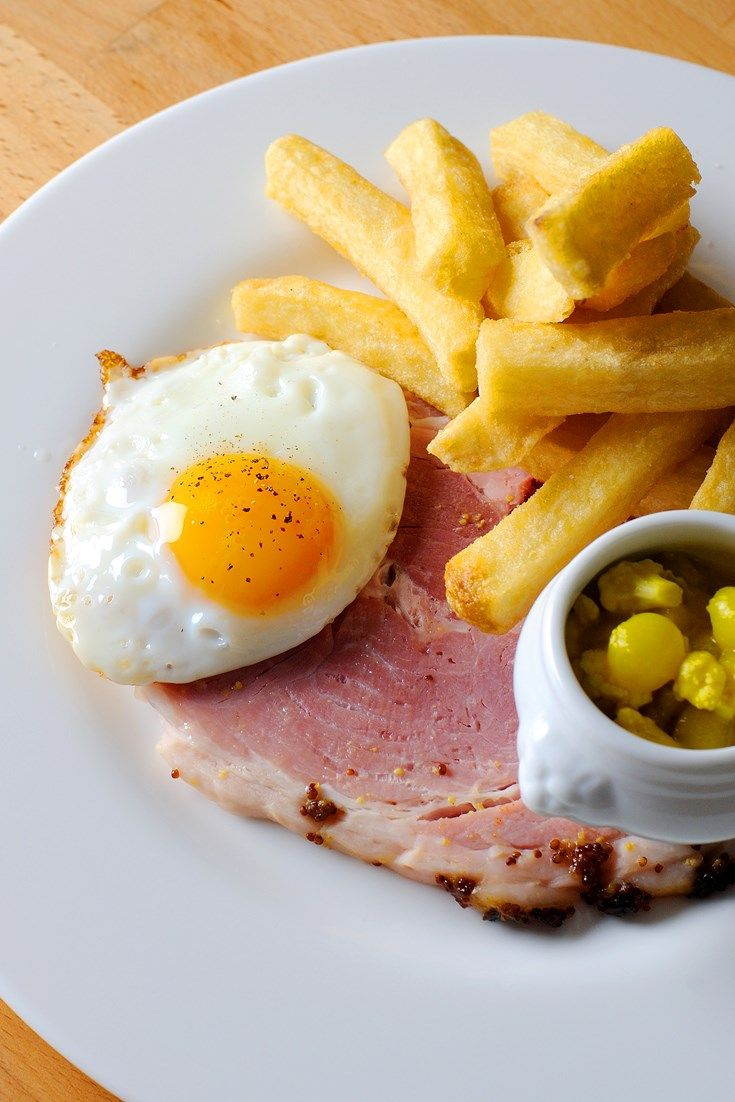 A remarkable brunch dish, this ham and eggs recipe from Josh Eggleton is deliciously simple. Paired with chips and piccalilli, it's the best way to brunch