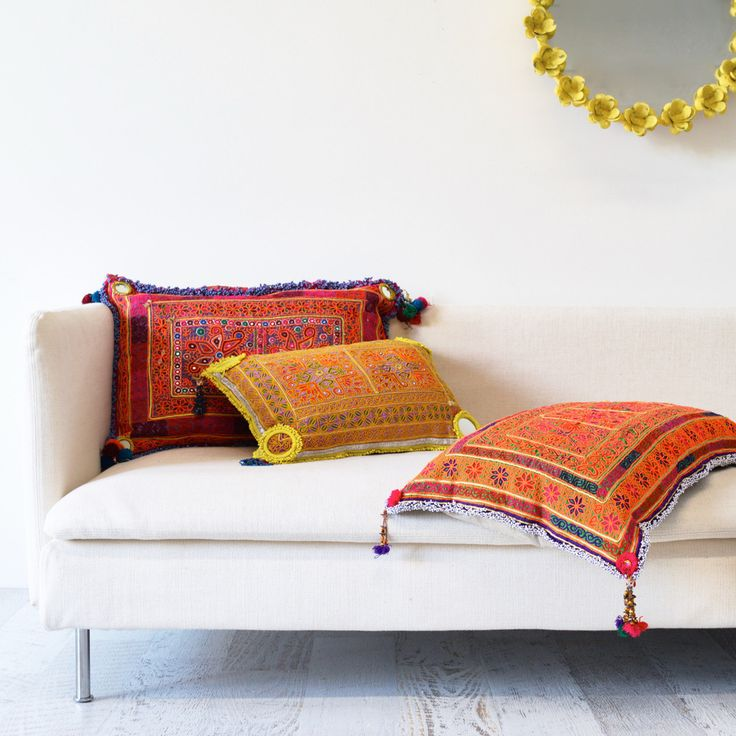 Pashtun Beaded Afghani Cushions   Sage and Clare