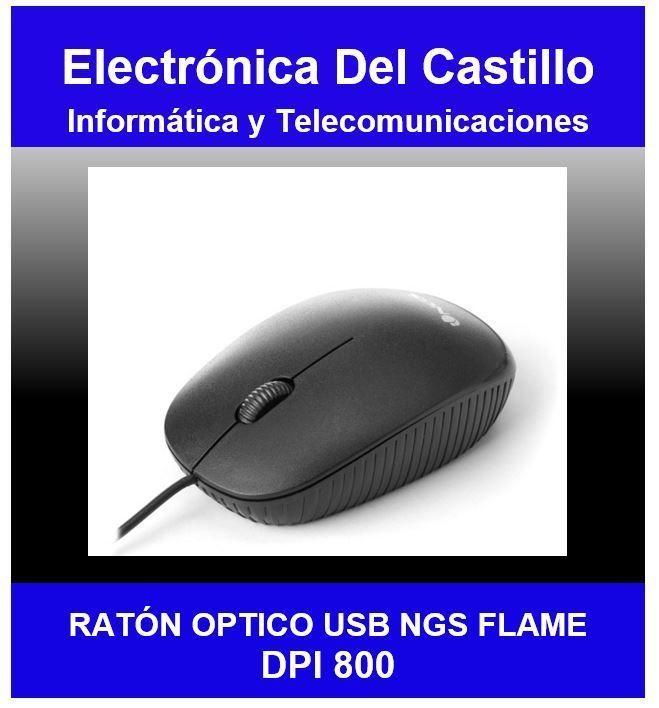 Ratón Óptico USB NGS Flame Negro dpi 1000