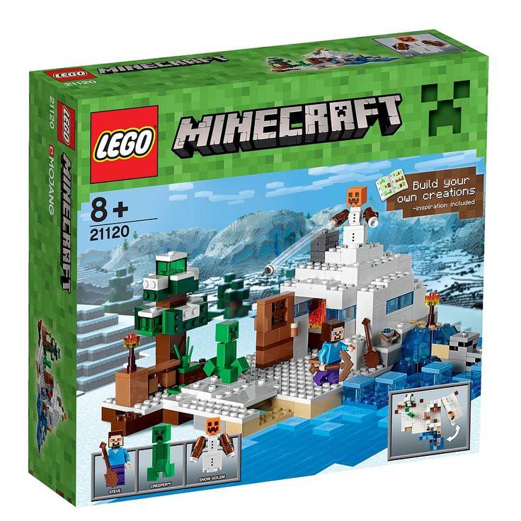 LEGO - 21120 De Sneeuwschuilplaats hoort bij de LEGO Minecraft-speelwereld.<br><br>Steve komt in een schuilplaats in de sneeuw terecht en daar beleeft hij ijzige avonturen! Altijd weer op zoek naar nieuw materiaal vindt Steve zelfs in het met sneeuw bedekte landschap wel iets. Met behulp van het ijs kan hij een sneeuwgolem bouwen, die hem tegen de gevaren beschermt. Er bevindt zich hier ook ergens een Creeper, die echter door de vriendelijke ondersteuning van de sneeuwgolem niet gevaarlijk…