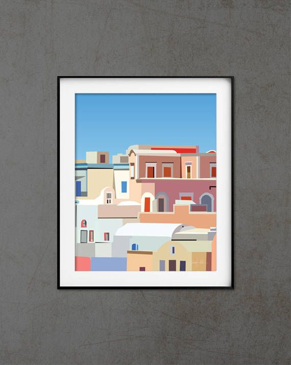 "Santorini wall art print Contemporary art Mediterranean decor USE THE CODE ""HUNKYDORY"" TO RECEIVE 30% OFF!"