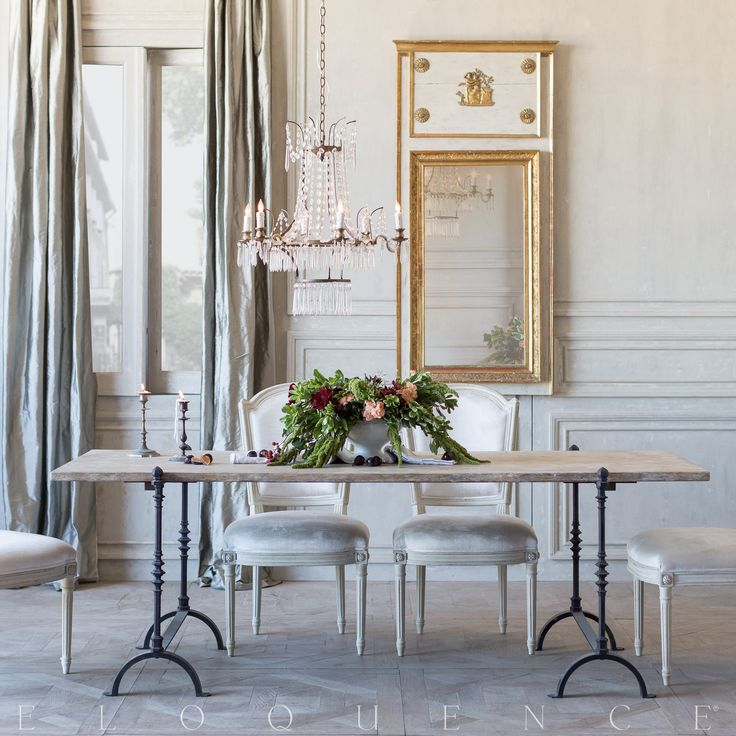 Romantic FrenchCountry dining room with rustic dining