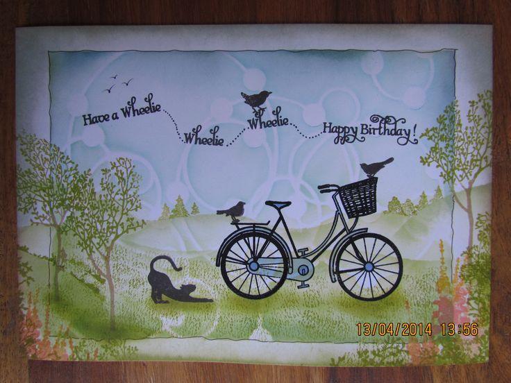 """Wheelie, wheelie Happy Birthday"" card using Clarity stamps and Adirondack inks"