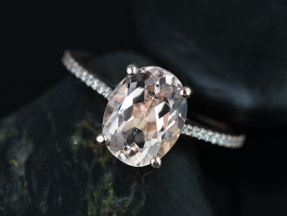 Blake 14kt Rose Gold Oval Morganite and Diamonds Cathedral Engagement Ring (Other metals and stone options available) on Etsy, $825.00